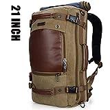 Cheap WITZMAN Men Travel Backpack Canvas Rucksack Vintage Duffel Bag A2021 (21 INCH Light Green)