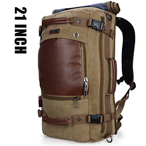 WITZMAN Men Travel Backpack Canvas Rucksack Vintage Duffel Bag A2021 (21 INCH Light Green)
