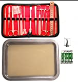 Premium Stainless Steel Dissection Kit With Free Tray and Pins - For Biology Medical Veterinary Students 14 Premium Dissection Tools 4 Blades Beautiful Leather Case 100 % guaranteed - Frogs Hate Us