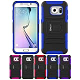 Galaxy S7 Edge Case, HLCT Rugged Shock Proof Dual-Layer Case with Built-In Stand Kickstand for Samsung Galaxy S7 Edge (Blue)