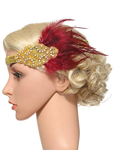 Flapper Girl Feather Flapper Headpiece Wedding 1920s Gatsby Headbands Crystal (WineRed-Gold) by Flapper Girl