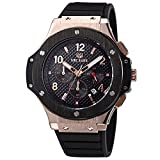 MEGIR Men Watches Military Rose Gold Quartz Wristwatches Silicone Strap Big Dial relojes