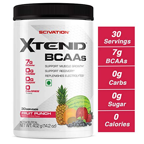 Scivation Xtend BCAA Powder, 7g BCAAs, Branched Chain Amino Acids, Keto Friendly, Knockout Fruit Punch, 30 Servings