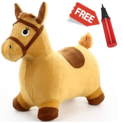 Hopping Horse - iPlay, iLearn Toddler Riding Horse Hopper Inflatable Ride On Horse Toys Plush covered with (Kids Plush Dinosaur Wings Costume)