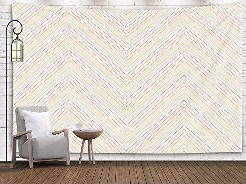 Shorping Art Tapestries, 80x60Inches Hanging Wall Tapestry for Décor Living Room Dorm Diagonal line Pattern Rainbow Design on Beige Design Print for Textile Fabric Wallpaper Background Set