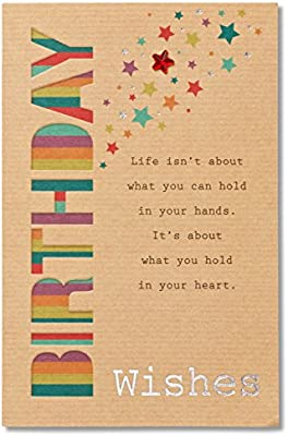 Amazon American Greetings Birthday Wishes Greeting Card With Foil And Star Shaped Gemstones Office Products