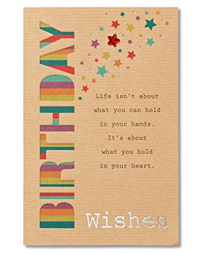American Greetings Wishes Birthday Greeting Card with Foil and Star-Shaped Gemstones