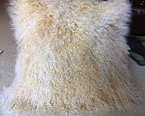 - Genuine Mongolian (Tibetan) Lamb Fur Wool Square Throw Pillow Cushion Light Gold/Light Beige with Natural Snow Top Two-tone 16