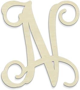 UNFINISHEDWOODCO Single Vine Unfinished Monogram N Decorative Letter, 13-Inch