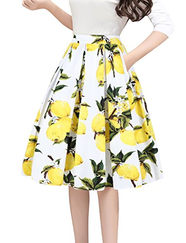 Tandisk Women's Pleated Vintage Skirt Floral Print A-line Midi Skirts with Pockets Lemon Flower XL