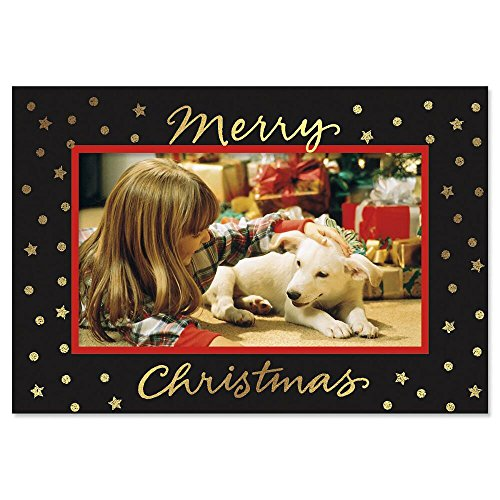 Gold Foil Stars on Black Photo Sleeve Christmas - Christmas Cards Inserts For