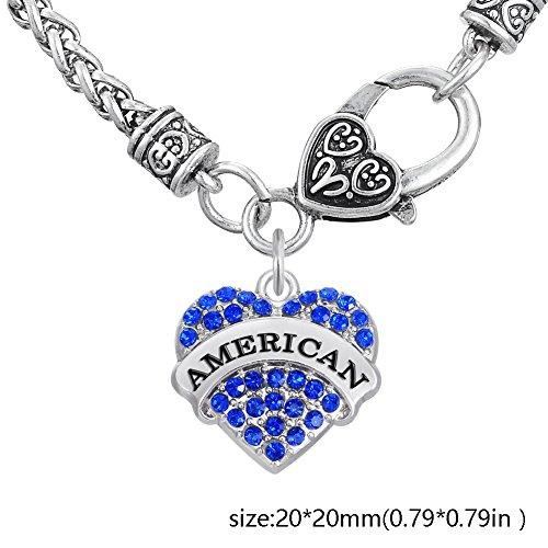 5016ece9ac54 Lovely forma de corazón pavimentadas de cristal americano colgante trigo  cadena collar para mujer niña