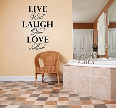 Design with Vinyl Live Laugh Love - Home Decor Vinyl Wall Decal Size : 12x30 Color : Black Black