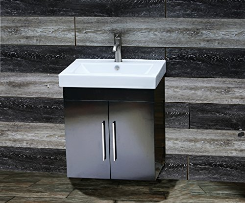 Solid wood 24'' Bathroom Vanity Cabinet CMS-CT Ceramic Top integrated Sink + Faucet & Drain by elite