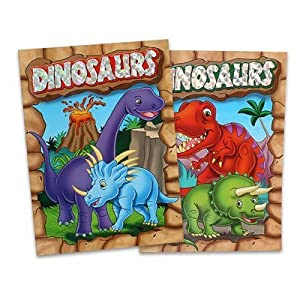 2 Pack Assorted Embossed & Foil Dinosaurs Coloring Books by 4 Season