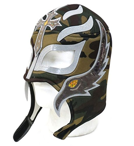 Leos Imports Rey Mysterio Adult Lucha Libre Wrestling Mask - Camo (Youth Camo Singlet Wrestling)