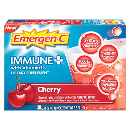 Emergen-C Immune+ (30 Count, Cherry Flavor) System Support Dietary Supplement Fizzy Drink Mix With Vitamin D, 1000mg Vitamin C plus Antioxidants & Electrolytes 0.31 Ounce Powder Packets