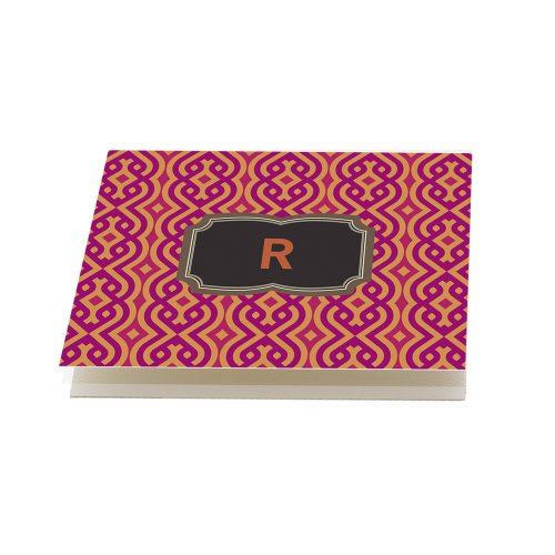 Spiced Orange and Purple 'Chains' Folded Note Cards, Set of 12 Monogrammed 'R' with Envelopes