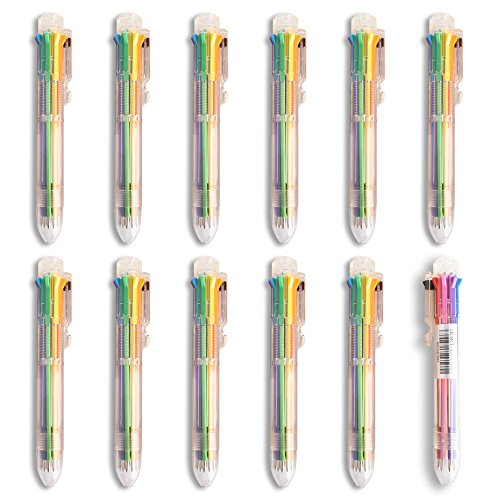 Multicolor Pens 8-in-1 Pack of 12Pcs 8 Colors Retractable Ballpoint Pens for Office School Supplies Students Children Gift