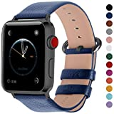 Fullmosa Leather Bands Compatible Apple Watch Band 42mm 44mm 38mm 40mm iWatch Band Series 5 4 3 2 1 for Men and Women, 42mm 44mm Dark Blue + Smoky Grey Buckle