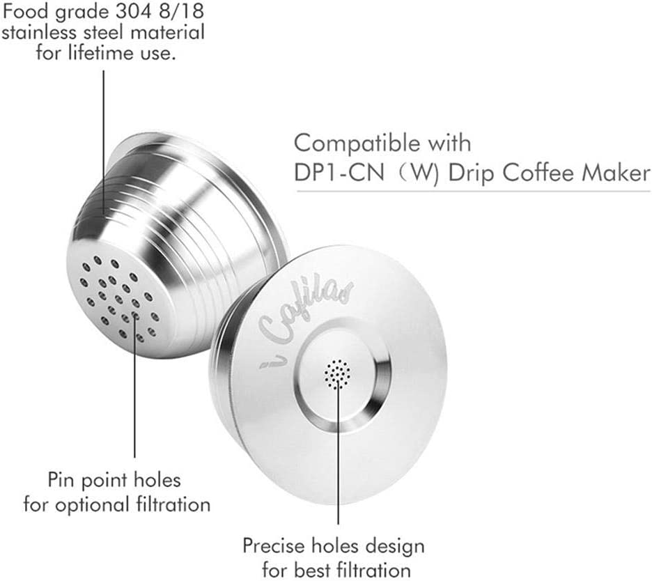 nachf/üllbar 1 B/ürste und 2 transparenten Ring Nachf/üll-Becher Kapseln f/ür Nespresso-Kaffeemaschine AUOKER Edelstahl-Kapseln wiederverwendbar Kaffee-Filter mit 1 Kaffeel/öffel