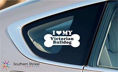 Skin Victorian Air - I Love My Victorian Bulldog Dog Bone Puppy Symbol White Vinyl Car Sticker Symbol Silhouette Keypad Track Pad Decal Laptop Skin Ipad Macbook Window Truck Motorcycle