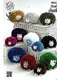 King Cole Tinsel Chunky Knitting Pattern Hedgehog Large , Medium , Small - 9015 by Tinsel Chunky Knitting Pattern Hedgehog