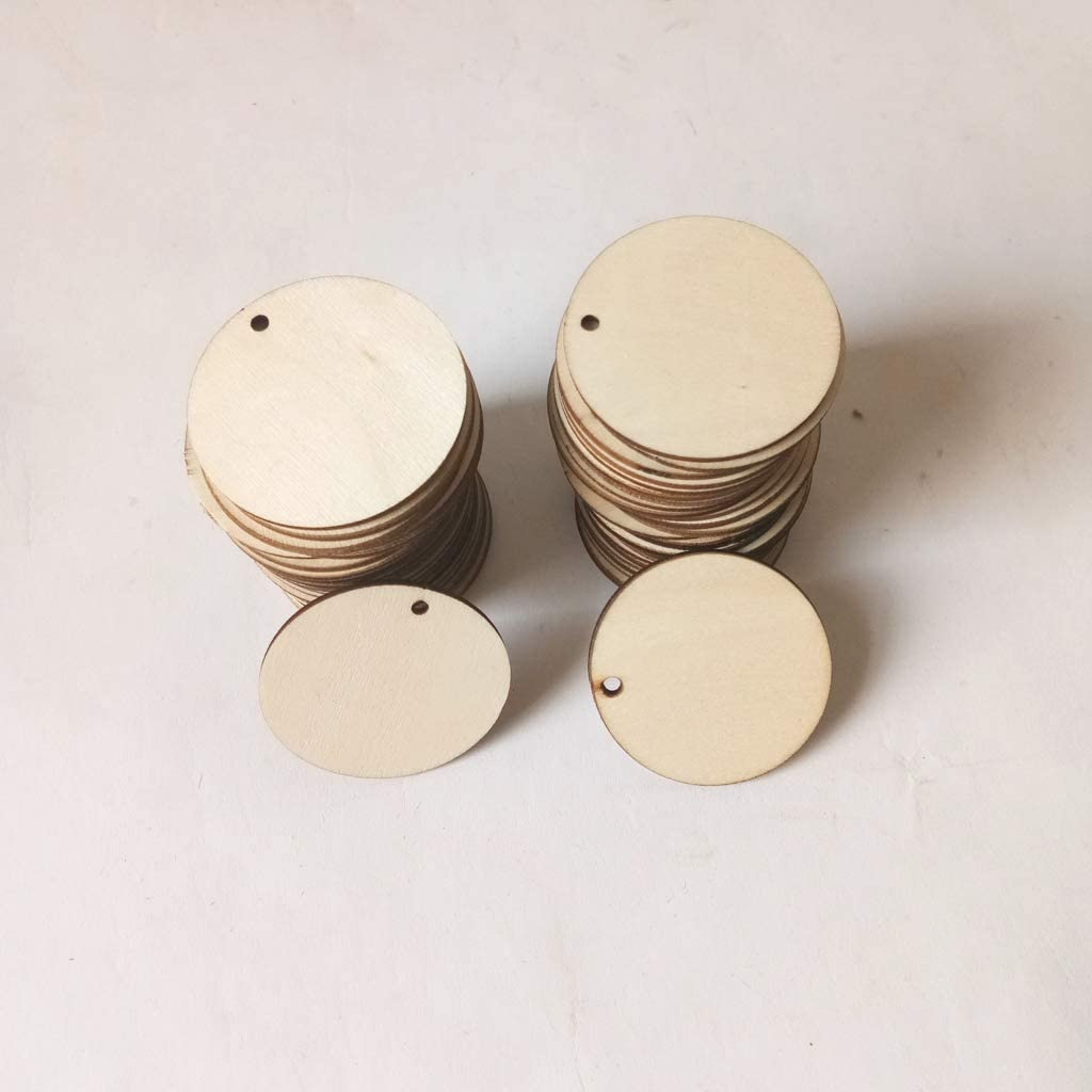 KOVIPGU 50pcs Unfinished Round Wooden Discs Ornament Embellishments for Scrapbooking DIY Craft One Hole Handmade Home Decor 30mm