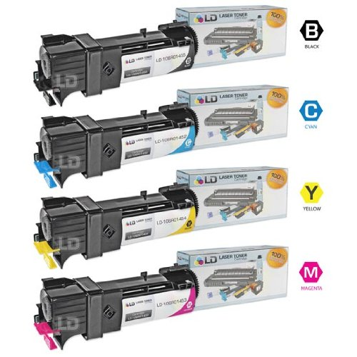 LD Compatible Toner Cartridge Replacement for Xerox Phaser 6128 (Black, Cyan, Magenta, Yellow, 4-Pack)