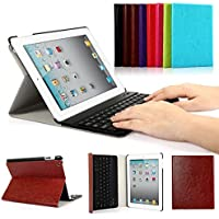 iPad 2/3/4 Keyboard Case, Symbollife Apple Bluetooth Ipad Keyboard Ultra Slim Pu Leather Folio Smart Case Stand Cover + Removable Wireless Bluetooth Keyboard with Retina Display Brown