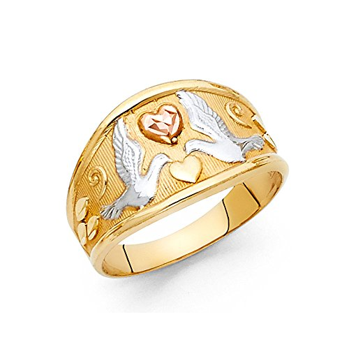 Solid 14k Yellow White Rose Gold Love Birds Ring Doves & Hearts Tapered Band Tri Color 11MM, Size 8