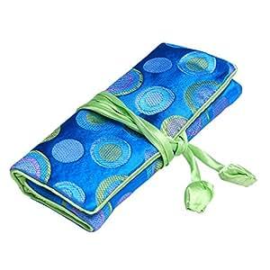 ALASKA BEAR - Travel Jewelry Case Polka Dot Roll with Silk Embroidery Brocade Tie Close Handbags(Blue)