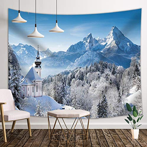 JAWO Snow Scene Decor Tapestry Winter Snow Covered Mountains Pine Forest Mediterranean Towns Wall Art Hanging for Bedroom Living Room College Dorm 71X60Inches Wall Blankets ()