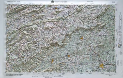 WINSTON SALEM REGIONAL Raised Relief Map in the states of North Carolina and Virginia with OAK WOOD Frame