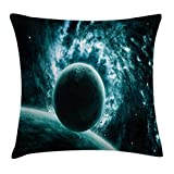 Ambesonne Space Throw Pillow Cushion Cover, Solar System Landscape with a Planet in Light Vast Motion UFO Asteroid Mystic Orbit View, Decorative Square Accent Pillow Case, 16 X 16 Inches, Teal