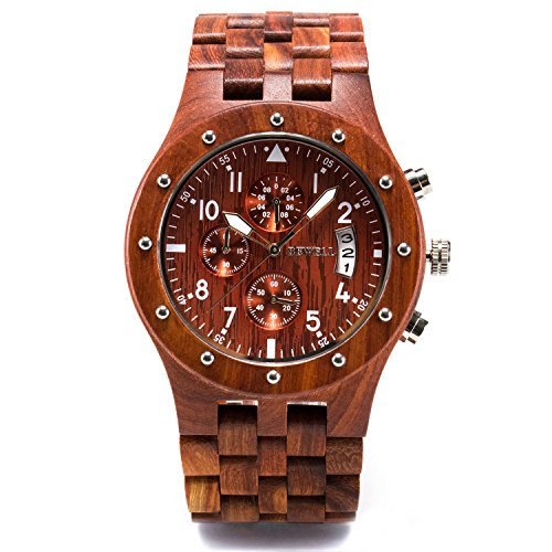 - Bewell W109D Sub-dials Wooden Watch Quartz Analog Movement Date Wristwatch for Men