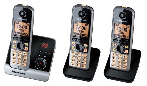 Panasonic KX-TG6723GB Trio Schnurlostelefon mit 2 zusätzlichen Mobilteilen (4,6 cm (1,8 Zoll) Display, Smart-Taste, Freisprechen, Anrufbeantworter) schwarz