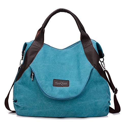 xiaoxiongmao Large Pocket Casual Women's Shoulder Cross body Handbags Canvas Leather Bags Blue ()