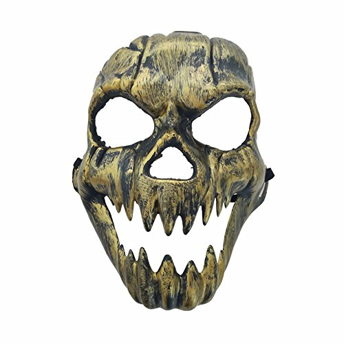 Mardi Gras Party Masquerade Mask,Halloween Horror grimacing Ghost Head mask Antique Fangs Skull Head mask Rust Gold Prom -