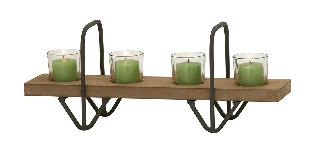Deco 79 42563 Not Applicable Wood Glass Metal Candle Holder 16'' W, 6'' H -