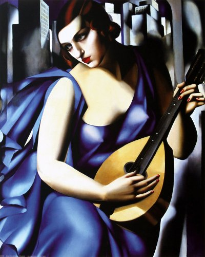 EuroGraphics Blue Woman with a Guitar (Femme Bleu a la Guitare) by Tamara De Lempicka. Art Print Poster (16 x 20)