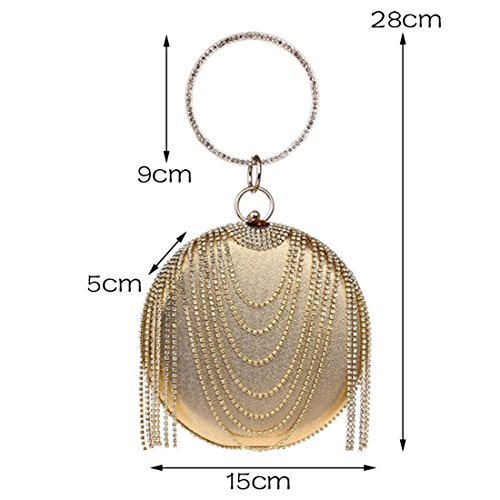 Bag Color Black Clutch KERVINFENDRIYUN Handbag Tassel Rhinestone Gold Purse Evening Women's xn8xqPRC0w