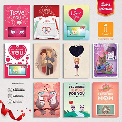 Love Cards 4D Flash Cards Augmented Reality Greeting Card Bundle - Love 4d Pop Cards - Unique Designs no 3d Love Cards I Love You Cards Sympathy Cards Romantic True Love 10-Count