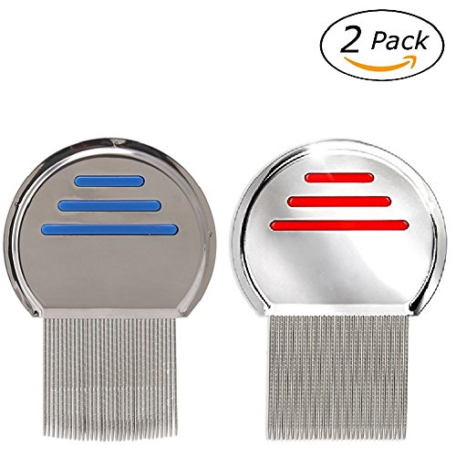 Lice Eggs (Lice Comb 2 Pack Professional Stainless Steel Nit Comb for Head Lice Treatment,Reusable,Removes Louse Nits Eggs Easily)