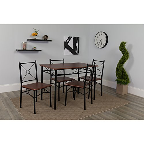 Flash Furniture Sutton Place 5 Piece Mahogany Finish Dinette Set with Chairs - Dining Dinette Set