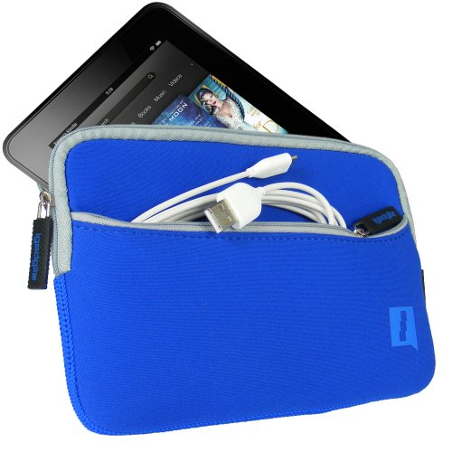 "iGadgitz Blue Neoprene Sleeve Case Cover with Front Pocket for Amazon Kindle Fire HD HDX 7"" (2012 & 2013 Versions) Display Wi-Fi 8GB 16GB 32GB 64GB Tablet"