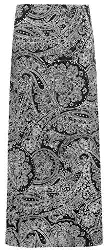 RM Fashions Women's Paisley Print 70S Boho Stretch Long Maxi Skirt (Size US 16, Black Paisley)