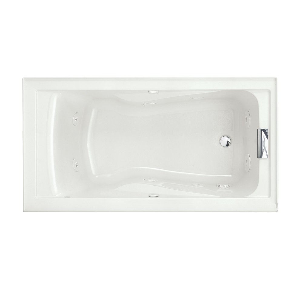 American Standard 2425VC-RHO.020 Evolution 5-Feet by 32-Inch Right-Hand Outlet Whirlpool Bath Tub with EverClean, Hydro Massage System I and Integral Apron, White
