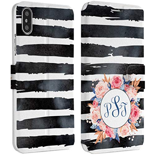 Wonder Wild Custom Stripes iPhone Wallet Case X/Xs Xs Max Xr 7/8 Plus 6/6s Plus Card Holder Accessories Smart Flip Hard Design Protection Cover Personalized Shell Your Name Minimalism Floral Wreath