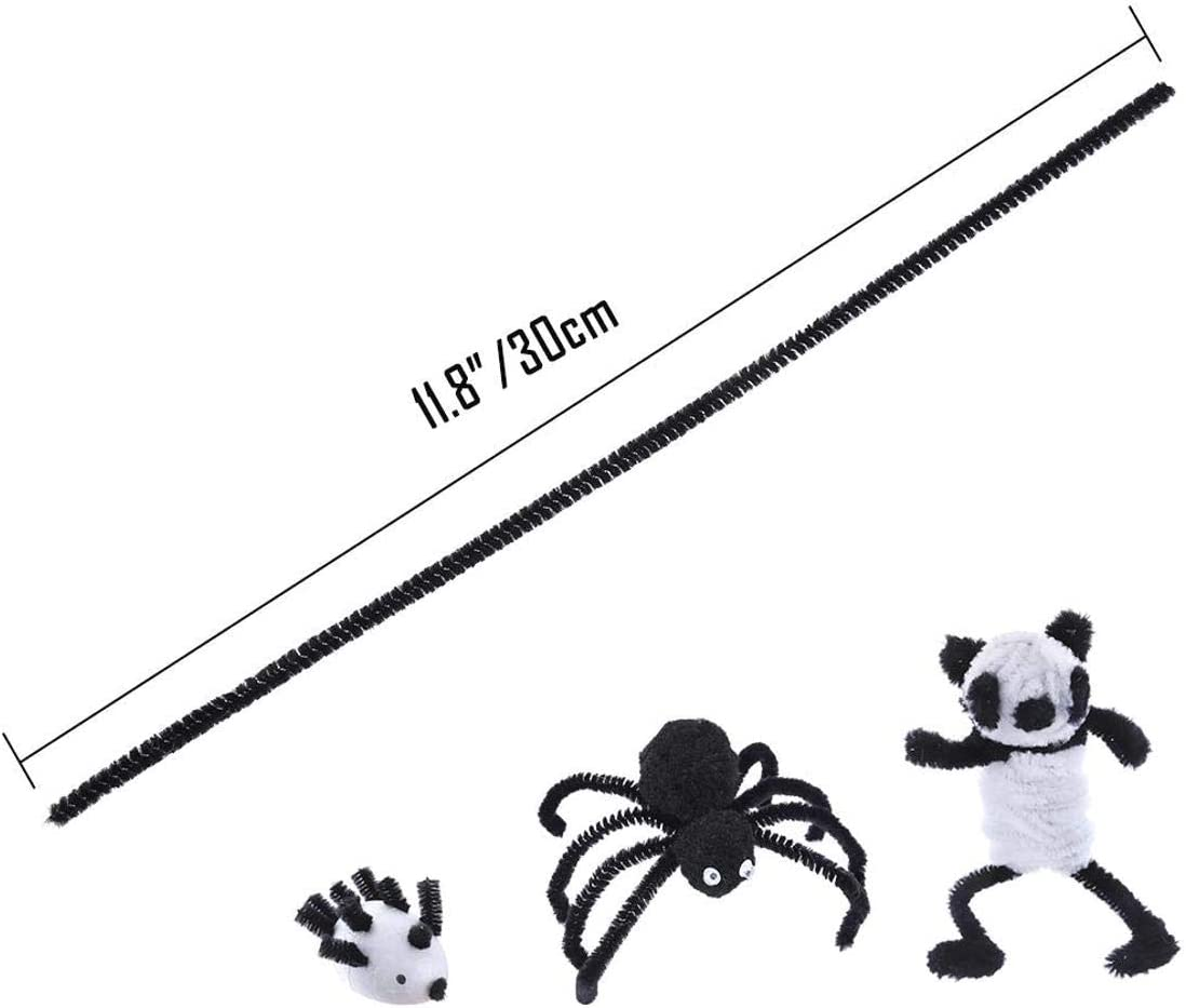 LAQI 6 mm x 12 Inch Black and White Pipe Cleaners Chenille Stem Safe and Humanized Design for DIY Art Craft Decorations 200Pcs